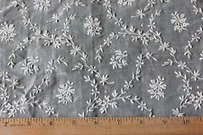 Antique Swiss White Floral Embroidery On Cotton Batiste Fabric c1900-1910~Dolls
