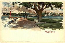 Genf Genève Schweiz Künstlerkarte um 1900 color Postkarte ungelaufen Switzerland