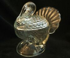 Vintage L.E. Smith Clear Glass Turkey Candy Serving Dish With Lid - Centerpiece