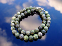 Green Zebra Natural Gemstone Necklace 8mm Beaded Silver 16-30inch Healing Stone