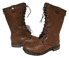 New Women's Fashion Lace Up Riding Boots Brown winter snow Ladies shoes size 7