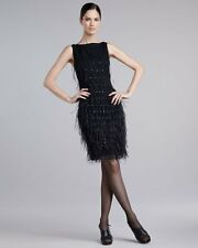 St. John Couture  Feather & Sequin Silk Chiffon Shift Dress ( Size 6)