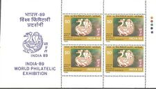 INDIA 89 SL1 PANE OF WORLD PHILATELIC EXHIBITION MNH WHITE GUM