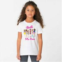 PERSONALISED BARBIE Tshirt Tee Top Kids Adults Girls Present Gift Cute Birthday
