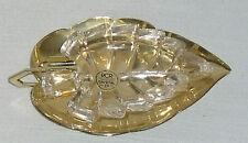 """Royal Crystal Rock RCR Leaf Ashtray 24% Crystal Metal Italy 5"""" NEW 2 pcs"""