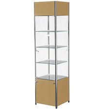 Tower Showcase Merchandise Display Glass Case Shelves Lights Assembled Maple NEW