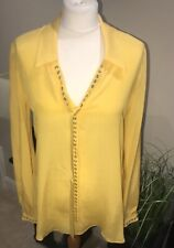 Just Cavalli 100% Silk Blouse Sz IT 44 Canary Yellow Bnwt UK 12