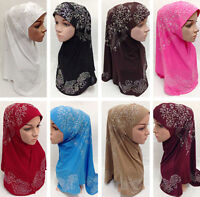 Women Muslim Hijab Islamic Flower Long Scarf Shawls Headwear Hats Caps Amira Hot