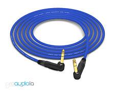 """Mogami Quad 2534 Cable   Neutrik Gold Right-Angle 90º 1/4"""" TRS   Blue 1 Feet 1'"""
