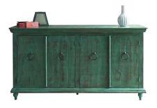 Macao Rustic Modern Solid Wood 4 Door Sideboard / Media Console - Distress Green