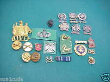 Antique old lot Military 6 Sterling Rifle Pins Chief badge Look