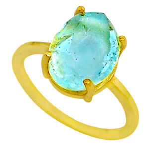 5.22cts Solitaire Natural Aquamarine Rough Silver 14k Gold Ring Size 8 T33163