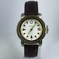 Vintage Guess Mens Analog Quartz Date Indicator Wristwatch Brown Leather Band