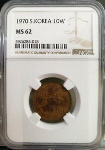 SOUTH KOREA  1970, 10 Won, Red Copper, UNC NGC MS 62