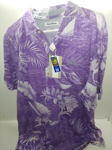 Tommy Bahama TCU Purple Floral Pattern Polo, brand new with tags