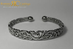 William Morris Style Bangle 925 Solid Sterling STAMPED Platinum Dipped 15g