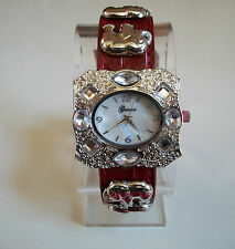 Women's western buckle designer look good luck elephant charm red leather watch