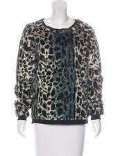 Maison Scotch Sweater Mademoiselle Faux Fur Leopard Print  PETITE XS  $229