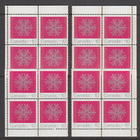 Canada #556p 10¢ Christmas Snowflakes Match Set Corner Blocks W2B Tagged MNH
