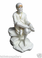 "6"" Indian Marble Casting Shirdi Sai Baba Sculpture Decor Handmade Gifts H1313"