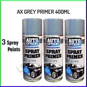 3x Grey Primer Matt Spray Paint Aerosol Can Auto Extreme Metal Wood 400ml