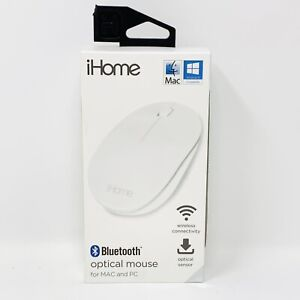 iHome Wireless Optical Mouse for PC or MAC White Ergonomically Contoured