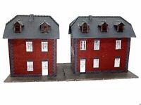 2 x Eisenbahnerhaus Siedlungshäuser mit schönen Klinkern BELEUCHTET Spur N D0289