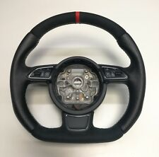 CUSTOM FLAT BOTTOM STEERING WHEEL AUDI A1 S1 A6 C7 A7 ! FULL LEATHER ! R8 STYLE