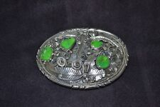 Handmade Sterling Silver and Green Turquoise Belt Buckle