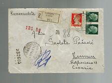 1943 Caserta Italy censored cover Aereonautical Academy