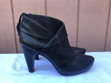 EUC ASH Ankle Boots Heels Fold Over Black Leather EUR 40 US 8 -8.5