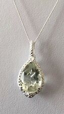 "Beautiful Sterling Silver Green Amethyst (3.50Ct) Pendant With 18"" Chain"