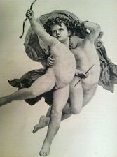 Antique Steel Engraving 1887 Nude Cupids Triumphant Love Valentines Day