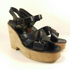 Vintage Fanfares Italy Black Leather Suede Sandals Shoes Wedge Platforms 5.5-6.5