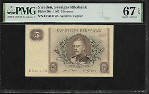 Sweden 5 Kronor 1963  PMG 67 EPQ UNC  Pick # 50b PMG Population 7/0