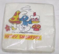 Vintage 1982 SMURF Happy Smurfday Birthday Package of 16 Luncheon Napkins