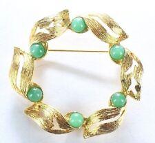 Brooch Pin - Wreath - Leaves - Filigree - Green Acrylic Stones - Gold Tone