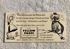 New Jersey Bell Telephone Company Yellow Pages Advertisement Walrus and Alice
