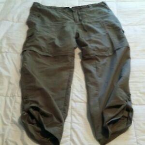 Guide's Choice Convertible Pants Womens Sz. 14 Olive Green Hiking Fishing Shorts