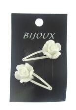2x blanc Cheveux Barrettes avec moulé fleur motif environ 5 cm