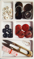 New Large Assorted Buttons Sewing Kit Measuring Tape Scissor Snips Thread Cutter