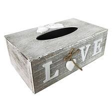 "Kosmetikbox Tissue Holz ""LOVE"" Grau/Weiß Shabby Spender Box Kosmetiktücherbox"