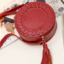 Women Fashion ROUND Weave Cross Body Messenger Tassel Shoulder Bag Tote Handbag