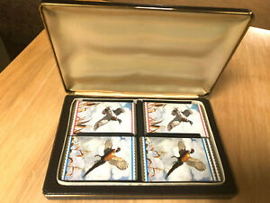 Vintage Playing Cards In Quality Leather Case 4 Sets Ducks Mallards EX Condition