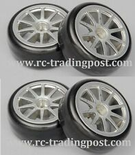 10 Spoke Silver Wheels With Hard Drifting Tires 1/10th Scale 26mm (4pc) RC Drift