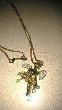 KIRKS FOLLY  32 INCH ANGLE NECKLACE  CRYSTALS & BEADS  - GORGEOUS