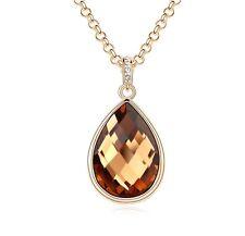 18K Gold GP SWAROVSKI Element Crystal Water Drop Pendant Necklace Brown