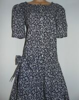 Laura Ashley Vintage Ditsy Floral Pintucked Bodice Sash Belt Summer Dress, 12 UK