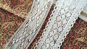 10 M Vintage Cotton white Crochet Style Scalloped Pretty Floral Lace Trim Ribbon