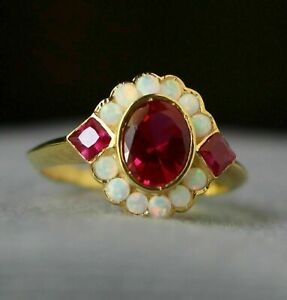 2Ct Oval Cut Ruby & Fire Opal Cluster Engagement Ring Solid 14K Yellow Gold Over